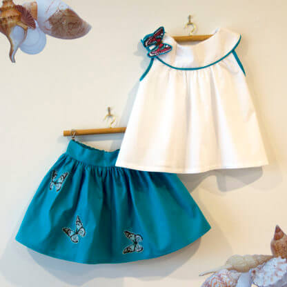 Butterfly skirt and shirt, outfit, Handmade children's clothing, kids clothes, girls clothes, toddlers