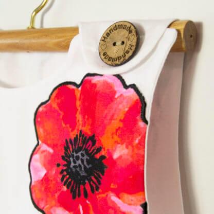 Poppy Pinafore, Poppy pinny, Poppy dress, Handmade children's clothing, dresses, kids clothes, girls clothes, toddlers, poppys, pinafore, girls, applique, buttons