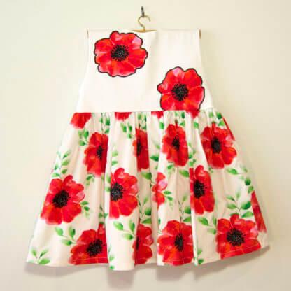 Poppy Pinafore, Poppy pinny, Poppy dress, Handmade children's clothing, dresses, kids clothes, girls clothes, toddlers, poppys, pinafore, girls, applique