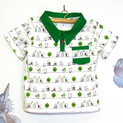 birds and trees polo shirt, green polo shirt, shirt, polo shirt, Handmade children's clothing, kids clothes, boys clothes, toddlers, birds, trees, boys shirt, pocket