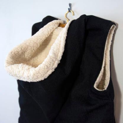 Denim & Sherpa Vest With Pixie Hood, denim, boys vest, vest, sheep, handmade, handmade childrens clothing