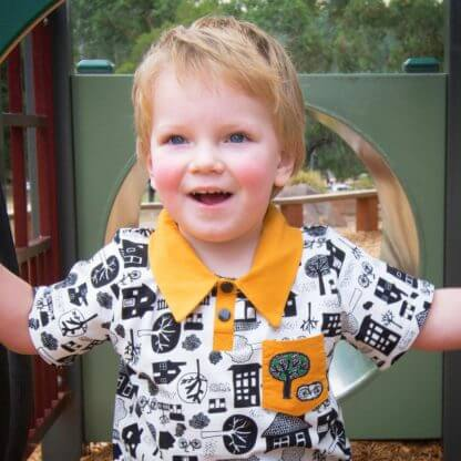 mustard polo shirt, shirt, polo shirt, Handmade children's clothing, kids clothes, boys clothes, toddlers, houses, trees, bikes, boys shirt, pocket
