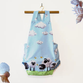 Sheep romper, sheep, jumpsuit, onesie, sheep baby outfit, cute baby, cute toddler outfit, sheep onesie, bees, clouds, toddler, children's clothing, Girl's Clothes, boys clothing, handmade