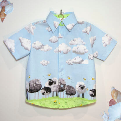 Sheep shirt, sheep, bees, clouds, toddler, children's clothing, Girl's Clothes, boys clothing, handmade, boys shirt, shirt, girls shirt