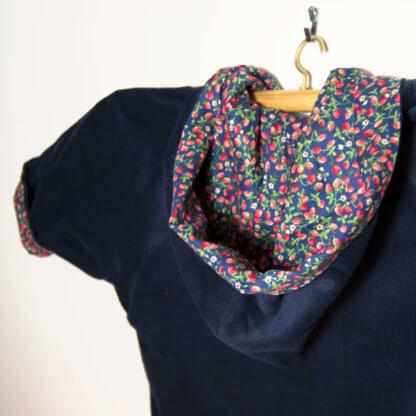 Denim jacket with Hood, denim, girls jacket, strawberries, handmade, handmade childrens clothing, girls clothing, girls, strawberry, jacket