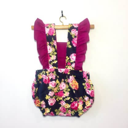 Florence Romper, jumpsuit, onesie, ruffles, romper, floral, cute baby girl outfit, cute toddler outfit, toddler, children's clothing, Girl's Clothes, handmade